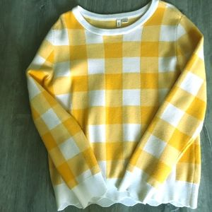 NWOT Soft Anthropologie Yellow & White scalloped